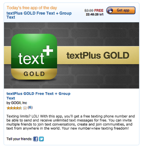 Amazon Appstore - Free App Of The Day - textPlus GOLD Free Text +