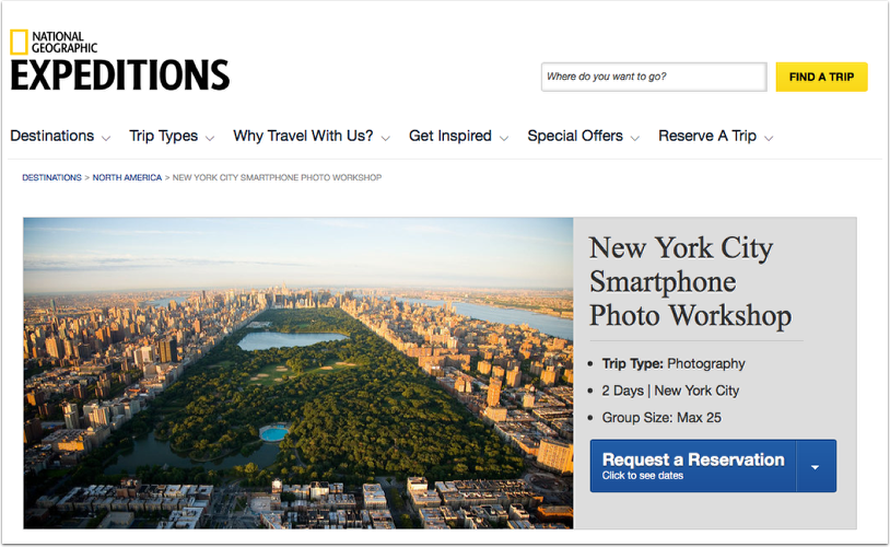 New York City Smartphone Photo Workshop with National Geographic Expeditions