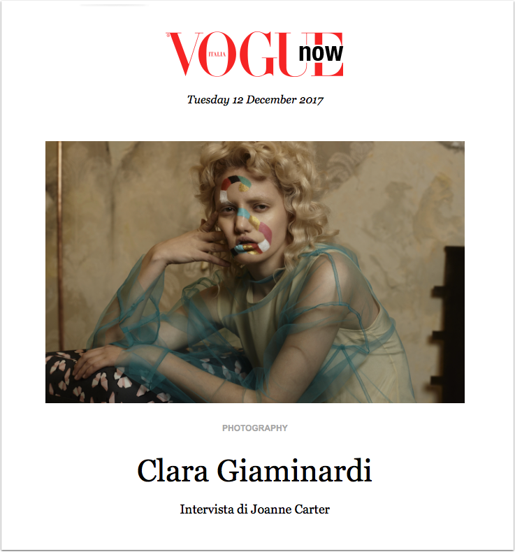 My Latest Vogue Column Interview Published with Photographer Clara Giaminardi Today!