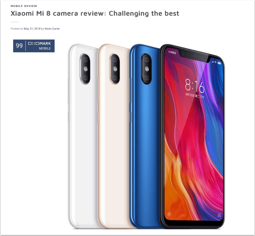 Mobile Photography – Xiaomi Mi 8: Challenging the Best– SmartPhone Review – DxOMark with Kevin Carter