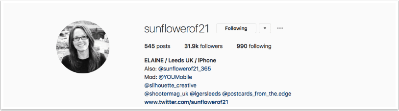 Instagram TAKEOVER with Elaine Taylor (@sunflowerof21)  – Day 1