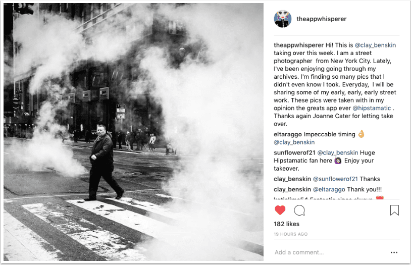 Instagram TakeOver with Street Photographer Clay Benskin, from New York City – Day 1