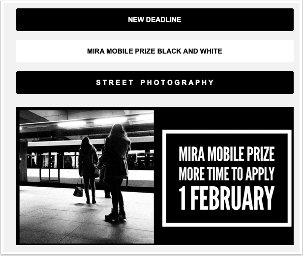 MIRA Mobile Photography Black and White Street Photography Competition – Deadline Extended
