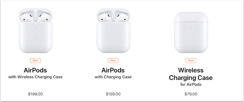 """New AirPods Are Powered by the New H1 Chip and Feature 50 Percent More Talk Time, Hands-Free """"Hey Siri"""" and the Option of a Wireless Charging Case"""